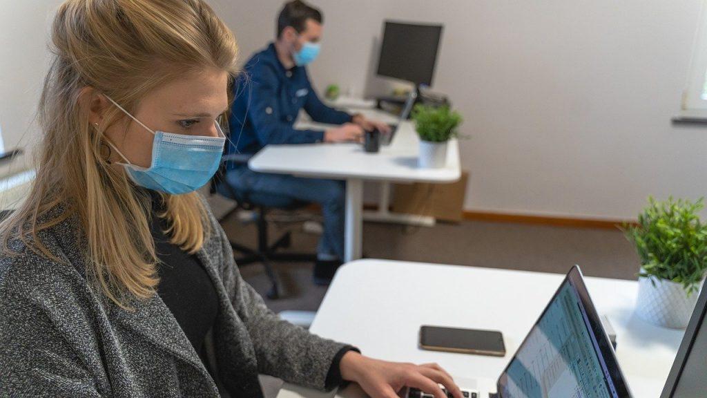 woman, man, laptop